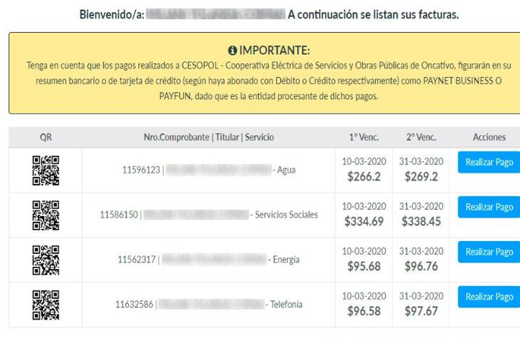lista de factura cesopol